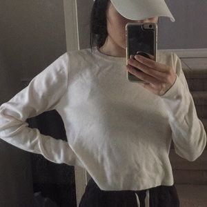 Forever 21 White Ribbed Thicker Long Sleeve Top
